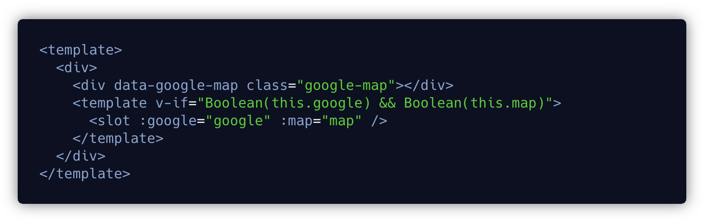 google map loader component template tag