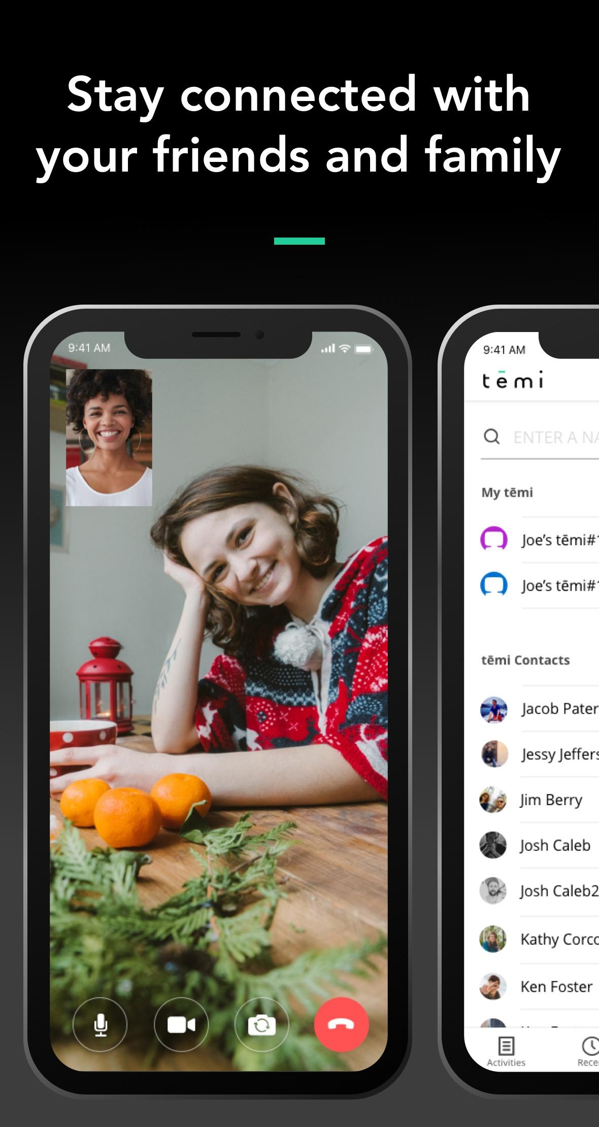 Temi App Screenshot - Video Chat + Contacts